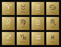 Vector set of icons with zodiac signs Royalty Free Stock Photo