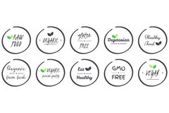 Vector set of  icvector set of  icons of Organic, Healthy, Vegan, Vegetarian, Raw, GMO, Gluten free Food, grey circle logo symbols. Vector set of  icons of Royalty Free Stock Photos