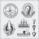 Vector set of idea, business, concept and project start up logos, icons, emblem and labels. Royalty Free Stock Photography