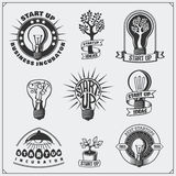 Vector set of idea, business, concept and project start up logos, icons, emblem and labels. Black and white Stock Photos