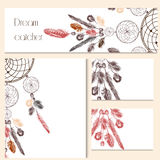 Vector set of identity templates with hand drawn dream catcher f Stock Photo