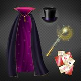 Vector set with illusionist equipment for tricks vector illustration
