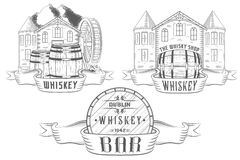 Vector Set Illustration and Badges Whiskey Stock Images