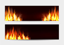 Vector set. Illustration with a burning fire on a dark backgroun Royalty Free Stock Photo