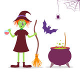 Vector set illustration with cute cartoon witch. Stock Photo