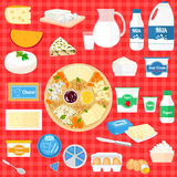 Vector set of illustration with dairy products Royalty Free Stock Image