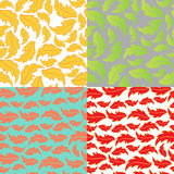 Vector set illustration of four seasons leaves pat Royalty Free Stock Images