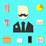 Set of objects for the modern businessman stock illustration