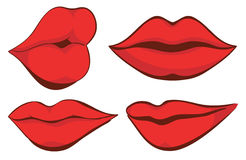 Vector set illustration. Sexy red female lips Royalty Free Stock Image