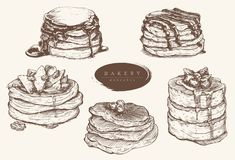 Vector set illustration of various kinds of pancakes. vector illustration