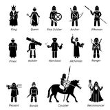 Ancient medieval characters classes and warriors icon set. Royalty Free Stock Photos