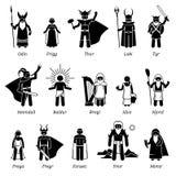 Ancient Norse Mythology Gods and Goddesses Characters Icon Set royalty free illustration