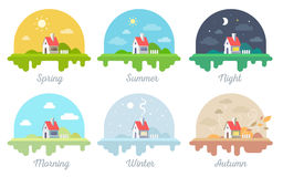 Vector set of illustrations of beautiful house with chimney and Stock Photos