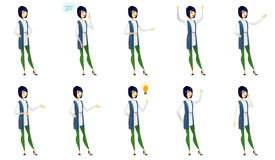 Vector set of illustrations with business people. Asian business woman pointing with her finger. Young business woman pointing her finger up. Business woman Royalty Free Stock Photo