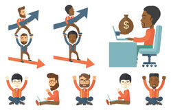 Vector set of illustrations with business people. Stock Photo