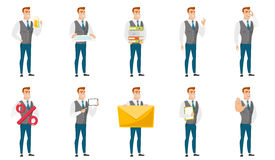 Vector set of illustrations with business people. Businessman holding pile of folders and papers. Full length of businessman with folders. Young businessman Royalty Free Stock Photos