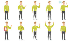 Vector set of illustrations with business people. Caucasian businessman pointing to the side. Businessman pointing his finger to the side. Businessman pointing Royalty Free Stock Photos