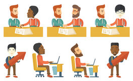 Vector set of illustrations with business people. Royalty Free Stock Photos