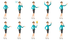 Vector set of illustrations with business people. Young asian business woman showing a direction. Full length of business woman pointing at something and Royalty Free Stock Images
