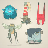 Vector set of illustrations cartoon cute monsters Stock Image