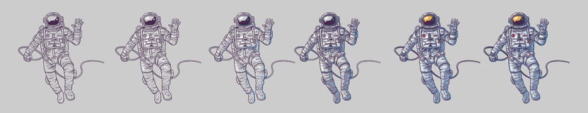 Vector set of illustrations cosmonauts Royalty Free Stock Photography