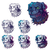 Vector set illustrations of evil mad dogs Stock Photos