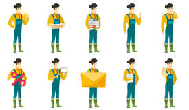 Vector set of illustrations with farmer characters Stock Photography