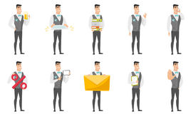 Vector set of illustrations with groom character. Royalty Free Stock Photography