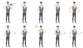 Vector set of illustrations with groom character. Young caucasian fiance laughing. Fiance laughing with hands on his stomach. Fiance laughing with closed eyes Royalty Free Stock Image