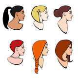 Vector set of illustrations head girls with different hairstyles Royalty Free Stock Photos