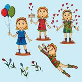Set of illustrations of little girls. Vector set of illustrations of little girls in different dresses and poses and emotions, isolated background, flowers roses Royalty Free Stock Image