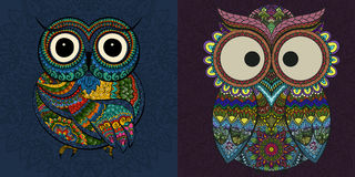 Vector set of  illustrations of ornamental owl Stock Photos