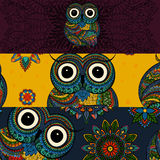Vector set of  illustrations of ornamental owl Stock Photo