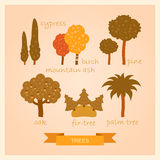 Vector set of illustrations of trees. Vector set of cartoon illustrations of trees Royalty Free Stock Photos