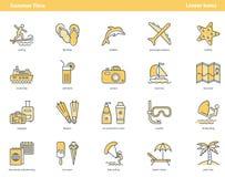 Illustration summertime yellow outline icons stock illustration