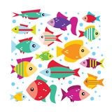 Vector set with the image of the fishes in flat design. Cute fish vector illustration icons set Stock Photos