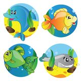 Vector set of images of the marine life Royalty Free Stock Photos
