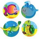Vector set of images of the marine life Stock Image