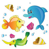 Vector set of images the marine life Royalty Free Stock Photography