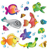 Vector set of images the marine life Royalty Free Stock Images