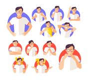 Vector set of imperson male emotions expression icons.  Stock Photography