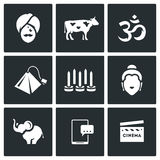 Vector Set of India Icons. Hindu, Sacred Animal, Aum, Tea, Yoga, Krishna, Elephant, Electronic, Bollywood. Royalty Free Stock Photo