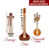 Vector set of indian bowed and plucked string musical instruments, flat style. Sarangi, sitar and saraswati veena icons isolated on white background Stock Photos