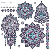 Vector set of Indian floral paisley ornaments. Royalty Free Stock Photography