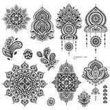 Vector set of Indian floral paisley ornaments.  Stock Photo
