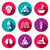Vector Set of Indian Yoga Icons.  Stock Photography
