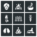 Vector Set of Indian Yoga Icons. Yogi, Burning coal, Fakir, Fire, Walking on nails, Swallowing a knife, Breathing Stock Photography