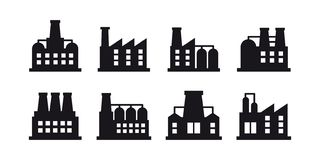 Vector set of industrial building and factory symbol and sign. Factories and power plants icon on white background. Vector symbol or icon design element for royalty free illustration