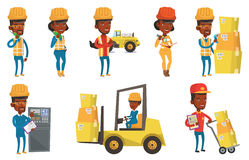 Vector set of industrial workers. Royalty Free Stock Images