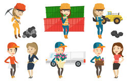 Vector set of industrial workers. Stock Images